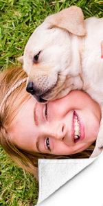 Fotohanddoek-meisje-hond